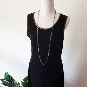 Vintage Carole Little Brown Velvet Maxi Dress M